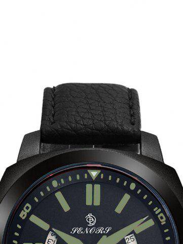 Trendy Faux Leather Strap Double Literal Calendar Quartz Watch - BLACK AND GREEN  Mobile