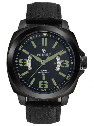 Outfits Faux Leather Strap Double Literal Calendar Quartz Watch - BLACK AND GREEN  Mobile