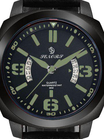 New Faux Leather Strap Double Literal Calendar Quartz Watch - BLACK AND GREEN  Mobile