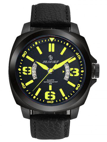 New Faux Leather Strap Double Literal Calendar Quartz Watch - YELLOW AND BLACK  Mobile