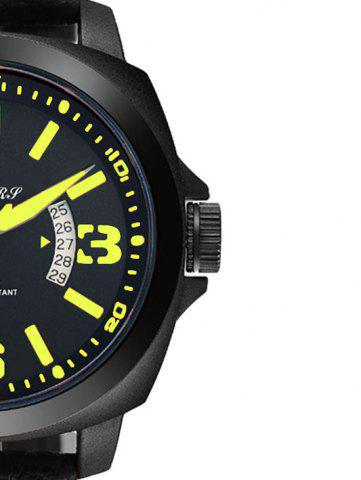 Outfit Faux Leather Strap Double Literal Calendar Quartz Watch - YELLOW AND BLACK  Mobile