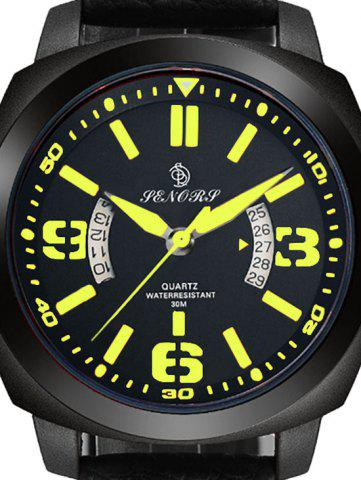 Trendy Faux Leather Strap Double Literal Calendar Quartz Watch - YELLOW AND BLACK  Mobile