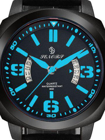 Outfit Faux Leather Strap Double Literal Calendar Quartz Watch - BLUE AND BLACK  Mobile