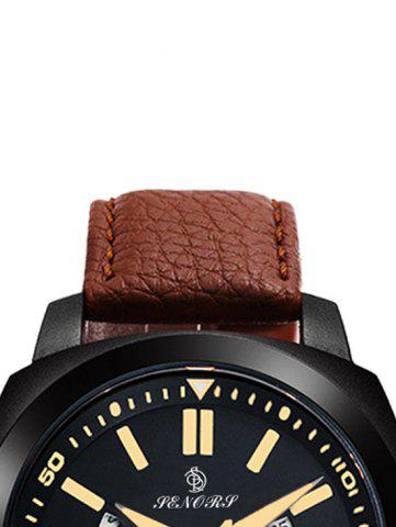 Trendy Faux Leather Strap Double Literal Calendar Quartz Watch - WHITE AND BROWN  Mobile