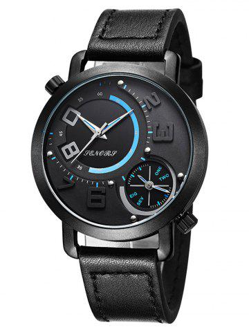 Affordable Faux Leather Dual Quartz Watch BLACK