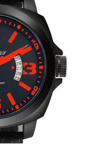 Best Faux Leather Strap Double Literal Calendar Quartz Watch - RED WITH BLACK  Mobile
