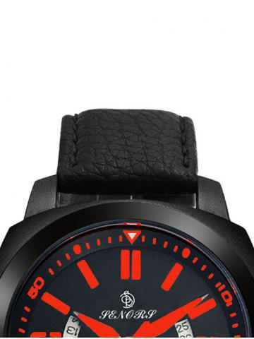 Fancy Faux Leather Strap Double Literal Calendar Quartz Watch - RED WITH BLACK  Mobile