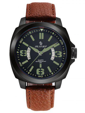 Affordable Faux Leather Strap Double Literal Calendar Quartz Watch GREEN / BROWN