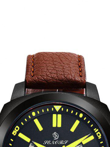 Cheap Faux Leather Strap Double Literal Calendar Quartz Watch - BROWN AND GOLDEN  Mobile
