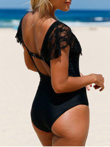 Affordable Plunge Lace Insert One Piece Backless Swimwear - 2XL BLACK Mobile