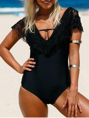 Hot Plunge Lace Insert One Piece Backless Swimwear - 2XL BLACK Mobile