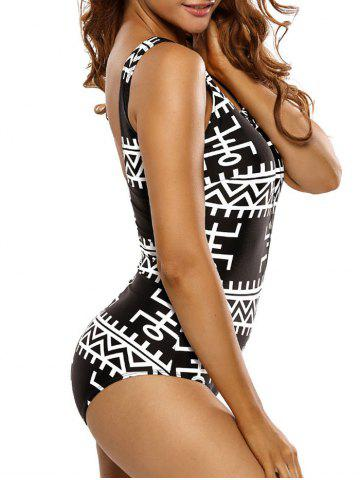 Buy Zipper Half Backless Printed One Piece Swimsuit - S BLACK Mobile