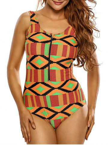 New Zipper Half Backless Printed One Piece Swimsuit - 2XL ORANGE Mobile