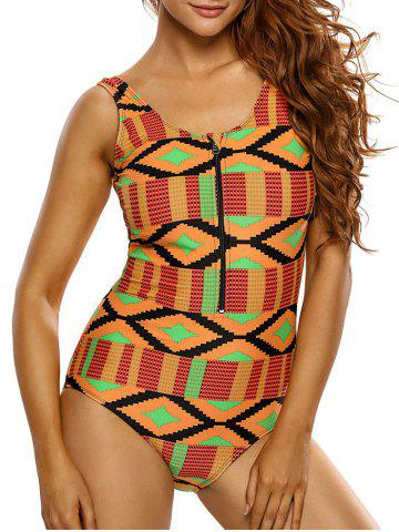 Affordable Zipper Half Backless Printed One Piece Swimsuit - 2XL ORANGE Mobile