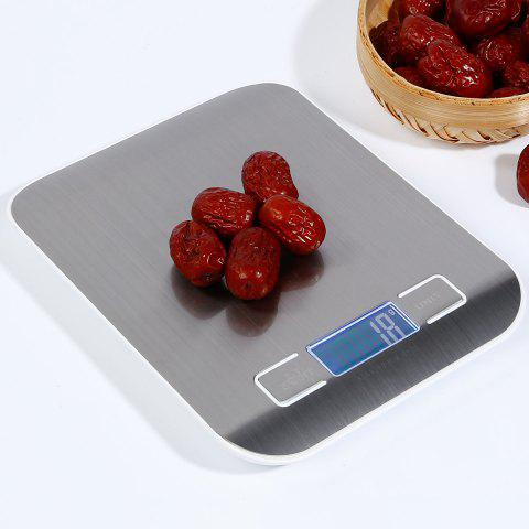 Trendy 5KG/1G Kitchen Food Diet Stainless Steel Electronic Scale - 18*14*1.7CM(5KG/1G) SILVER Mobile