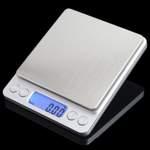 Unique Portable High Precision Weighting Food Electronic Scale - 12.7*10.6*1.9CM(500G/0.01G) SILVER Mobile