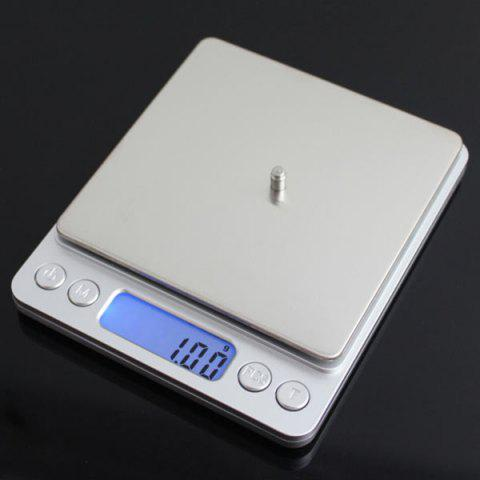 Shops Portable High Precision Weighting Food Electronic Scale - 12.7*10.6*1.9CM(500G/0.01G) SILVER Mobile