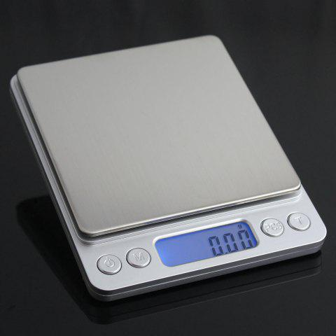 Sale Portable High Precision Weighting Food Electronic Scale - 12.7*10.6*1.9CM(500G/0.01G) SILVER Mobile
