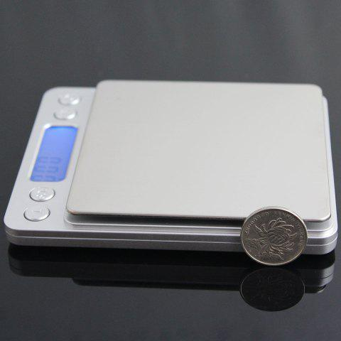 Shops Portable High Precision Weighting Food Electronic Scale - 12.7*10.6*1.9CM(3000G/0.1G) SILVER Mobile