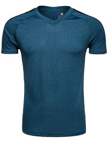 Quick Dry V Neck Mesh Panel Raglan Sleeve Training T-shirt - Deep Blue - L