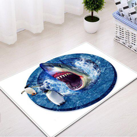 Cheap Shark Penguin 3D Pattern Water Absorption Flannel Area Rug - W16 INCH * L24 INCH BLUE Mobile