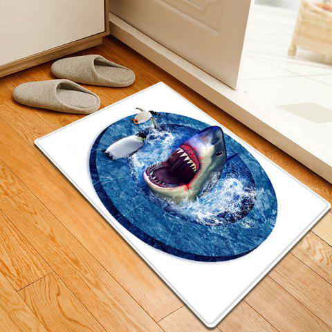 Sale Shark Penguin 3D Pattern Water Absorption Flannel Area Rug - W16 INCH * L24 INCH BLUE Mobile