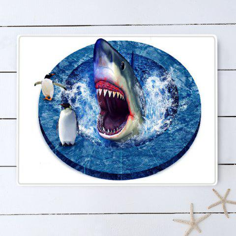 Chic Shark Penguin 3D Pattern Water Absorption Flannel Area Rug - W16 INCH * L24 INCH BLUE Mobile