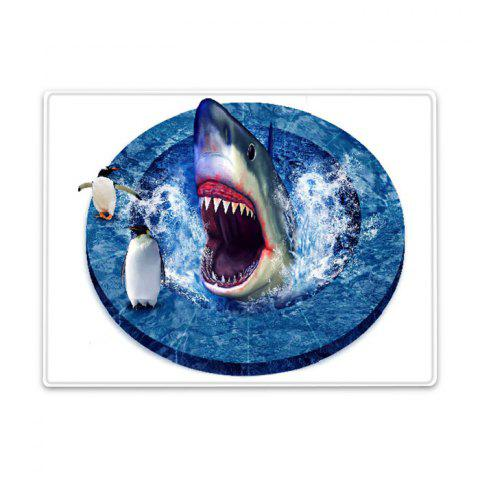 Discount Shark Penguin 3D Pattern Water Absorption Flannel Area Rug - W16 INCH * L24 INCH BLUE Mobile