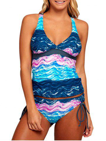 Outfits Ocean Print Plunging Neck Tankini Set - M COLORMIX Mobile