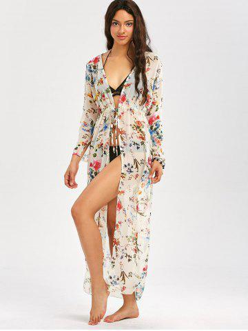 Affordable Floral Long Beach Kimono Slit Cover Up WHITE XL