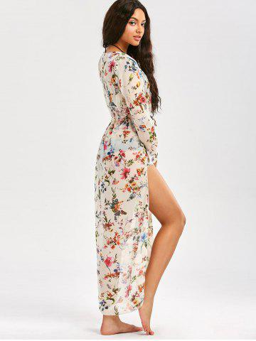 Outfit Floral Long Beach Kimono Slit Cover Up - XL WHITE Mobile