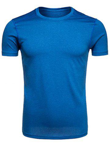 Cheap Crew Neck Quick Dry Selvedge Embellished Training T-shirt - XL LIGHT BLUE Mobile