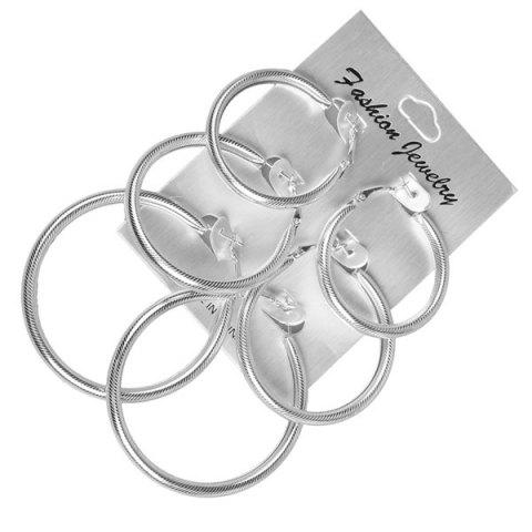 Alloy Round Statement Hoop Earring Set - Silver