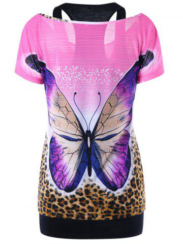 Sale Butterfly Print Tee and Racerback Tank Top - M MULTICOLOR Mobile