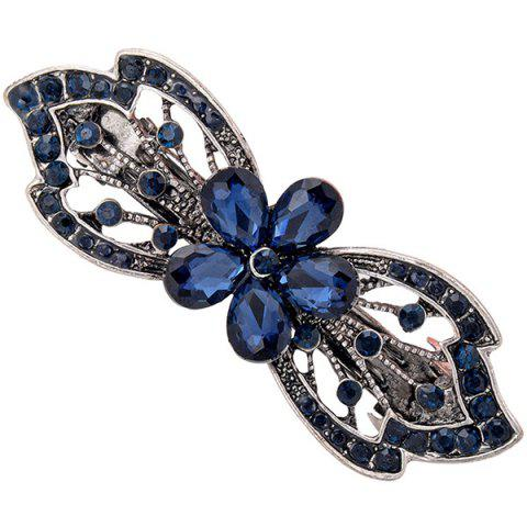 Cheap Faux Gem Hollow Out Floral Shape Barrette - BLUE  Mobile