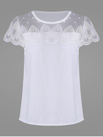 Mesh Insert Scalloped Blouse - White - S
