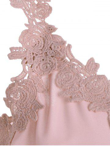 Outfit V Neck Lace Trim Chiffon Cocktail Dress - S PINK Mobile