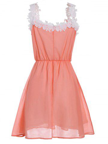 Buy V Neck Lace Trim Chiffon Cocktail Dress - S ORANGE Mobile