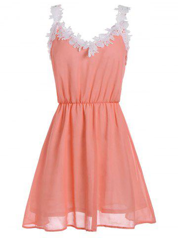 Hot V Neck Lace Trim Chiffon Cocktail Dress - L ORANGE Mobile