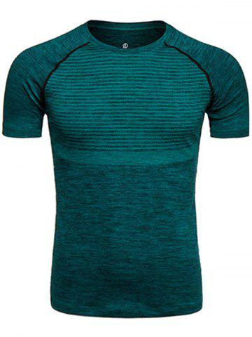 Best Polka Dot Print Crew Neck Quick Dry Training T-shirt - S BLACKISH GREEN Mobile