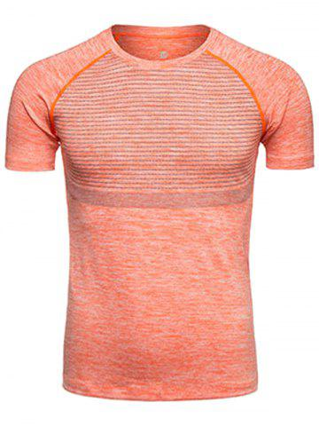 Trendy Polka Dot Print Crew Neck Quick Dry Training T-shirt ORANGE XL
