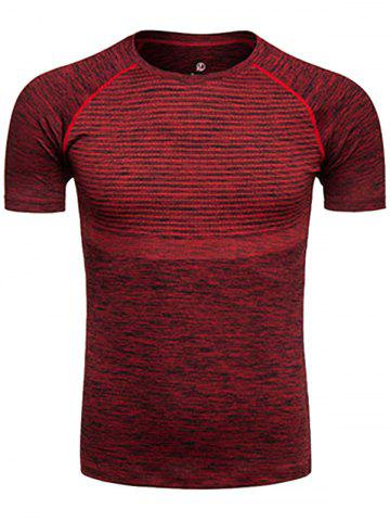 Buy Polka Dot Print Crew Neck Quick Dry Training T-shirt - CLARET S Mobile