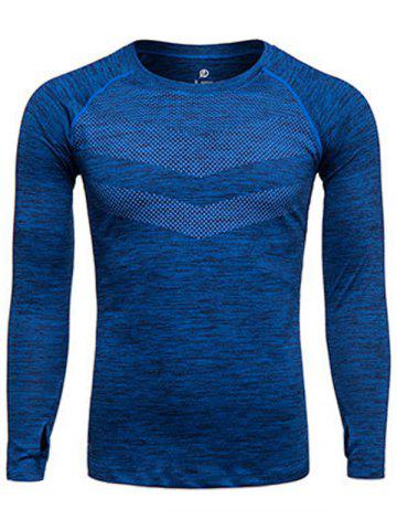 Discount Long Sleeve Printed Quick Dry Training T-shirt - S DEEP BLUE Mobile