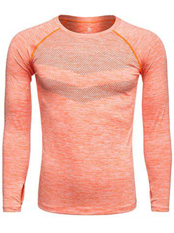 Long Sleeve Printed Quick Dry Training T-shirt - Orange - S