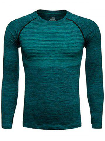 Buy Long Sleeve Polka Dot Print Quick Dry Training T-shirt - L BLACKISH GREEN Mobile