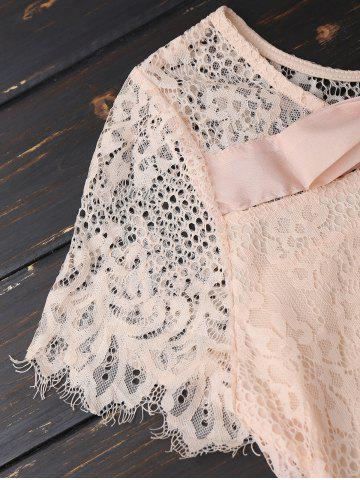 Outfits Self Tie Eyelash Lace Mini Dress - S PINK Mobile