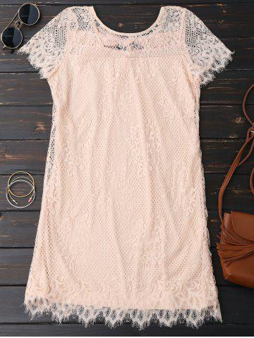 Trendy Self Tie Eyelash Lace Mini Dress - XL PINK Mobile