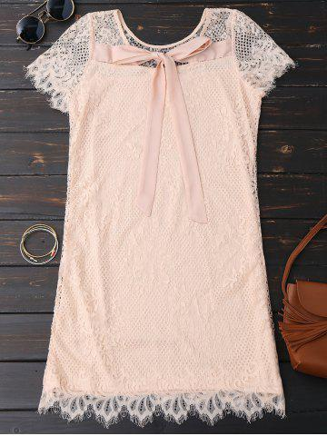 New Self Tie Eyelash Lace Mini Dress - XL PINK Mobile
