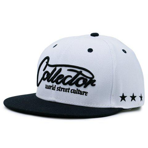 Chic Letters Stars Embroidered Flat Brim Baseball Hat