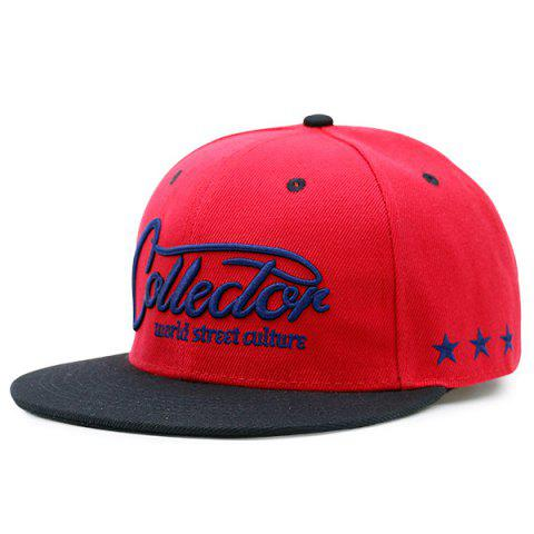 Affordable Letters Stars Embroidered Flat Brim Baseball Hat RED